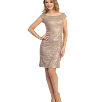 Taupe Sparkle Cap Sleeve Cocktail Dress Prom 2015