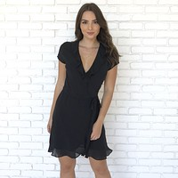 Make Me Feel Good Ruffle Wrap Dress in Black