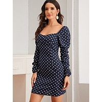 Sweetheart Neck Gigot Sleeve Polka-dot Bodycon Dress