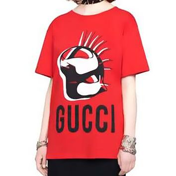 GUCCI Summer Women Men Casual Mask Silhouette Print Short Sleeve T-Shirt Top