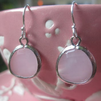 Rose Pink Opal Glass Earrings on Sterling Silver Earwires - Silver Plated Gem