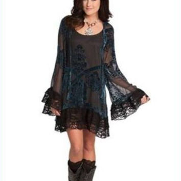 Rancho Estancia Western Inspired Velvet Sapphire Dress