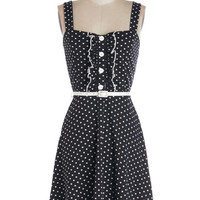 ModCloth Vintage Inspired Mid-length Spaghetti Straps A-line Spontaneous Spins Dress in Dots