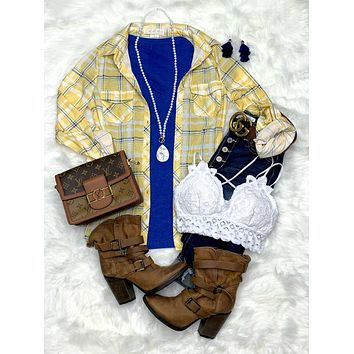 Penny Plaid Flannel Top - Yellow/Ivory