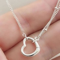 New Two Chains Open Love Heart Chain Link Necklace For Women Wedding Gift Pandora DIY Jewelry 925 Sterling Silver Necklace