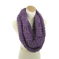 Infinity Scarf, Knit Scarf, Loop Scarf, Neck Warmer, Circle Scarf, Knit Cowl Gift For Her, Purple, Women Scarf, Fashion Accessory, Fiber Art
