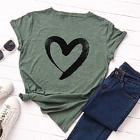 Plus Size S 5XL New Heart Print T Shirt Women 100% Cotton O Neck Short Sleeve Summer T Shirt Tops Casual Tshirt women shirts