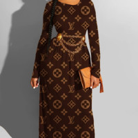 LV Louis Vuitton Long Sleeve Bodycon Dress