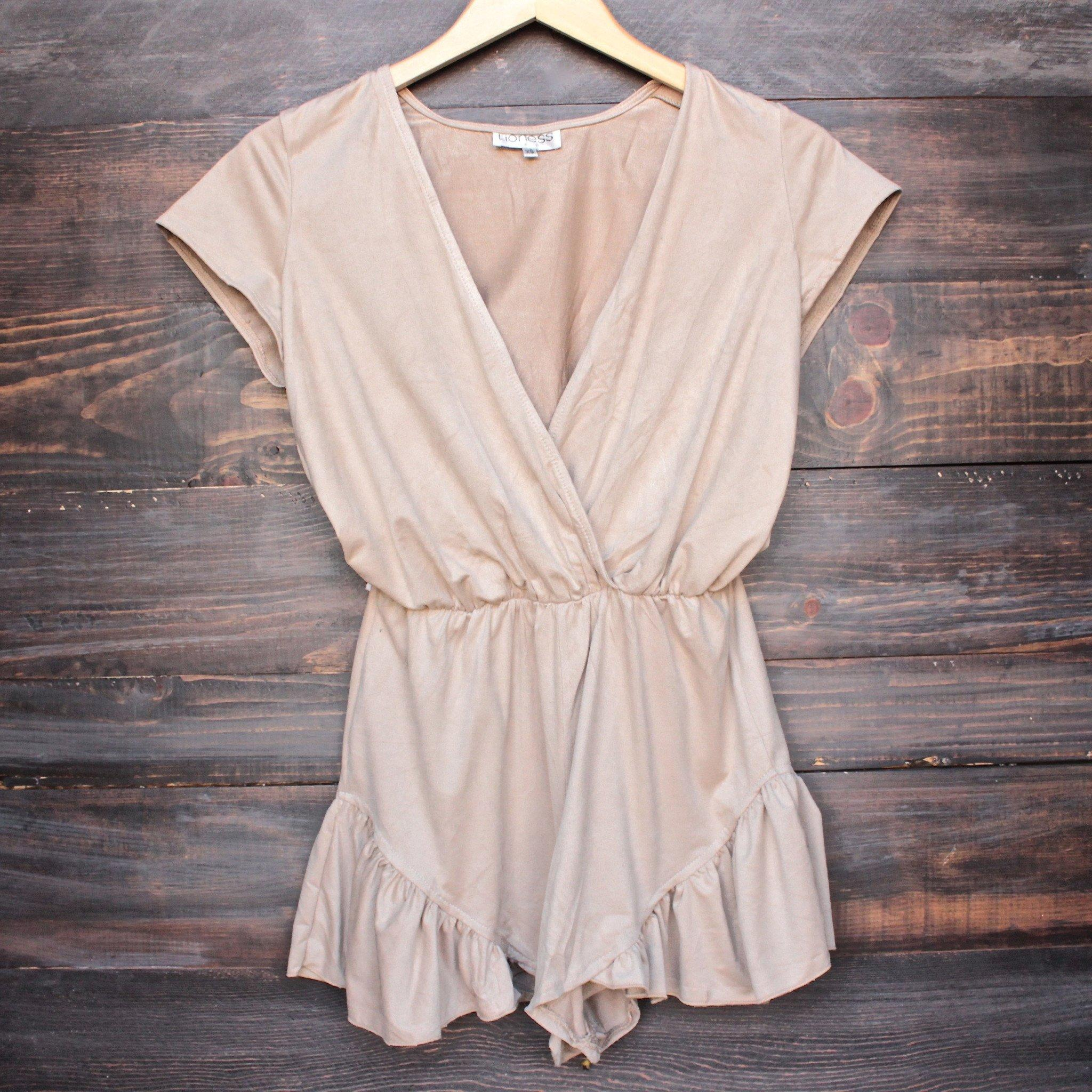 Image of Lioness pur-suede me with ruffle hem romper in beige suede