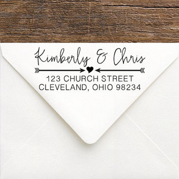 Return Address Stamp, Self Inking or Rubber - Modern Rustic Wedding Stamp with Heart & Arrow Love - Custom Address Stamp for Shower Gift
