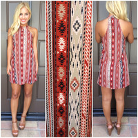 The Call Of The Desert Tribal Print Dress - RUST