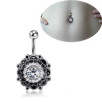 New Charming Dangle Crystal Navel Belly Ring Bling Barbell Button Ring Piercing Body Jewelry = 4661633220
