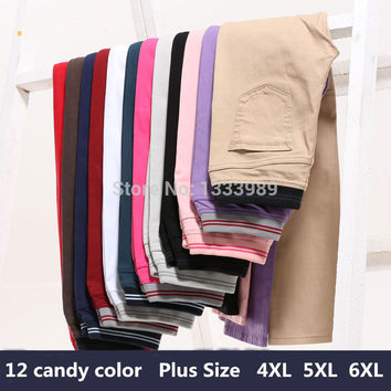 Free Shipping Women Sexy Candy Color Slim Fit Skinny Stretch Boots Pencil Jeans Pants Plus Size Pants Trousers 4XL5XL6XL