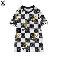 Louis Vuitton new short-sleeved LV letter plaid jacquard pattern personalized men and women T-shirt