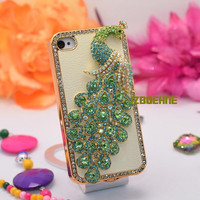 iPhone Case, Handmade iPhone 4 Case, iPhone 4 Cover, iPhone 4S Case, Bling Case, Rhinestone Swarovski Crystal Peacock with White PU Leather