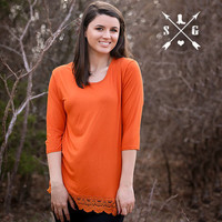 Orange Solid 3/4 Sleeve Shirt with Crochet Lace