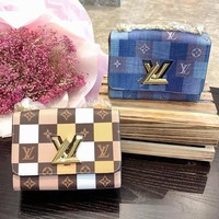 LV Louis vuitton hot sales of women's casual contrast color plaid printed flip shoulder bag
