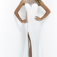 High Neck Blush Halter Top Prom Gown BL-10008