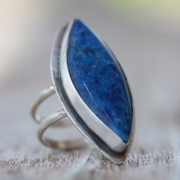 Cocktail Ring - Afghan Lapis Hand Cut Ethically Sourced Marquis Ring Set in Recycled Sterling Oxidized Bezel and Setting - Boho Chic
