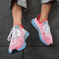 Adidas Deerupt Running Shoes Runner Trifolium Mesh Sneakers B-CSXY Pink Surface With Blue Soles