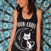 Shirts Women 2018 Moon Child Summer Tank Top Girl's Sleeveless Vest Tops Harajuku Streetwear Tshirt Causal Graphic Tee Racerback