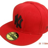 hcxx New York Yankees New Era MLB Authentic Collection 59FIFTY Hat Red-Black