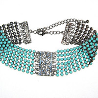 Vintage Estate Silver Blue Rhinestone & Turquoise Choker Necklace