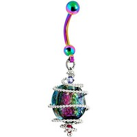 Handcrafted Spiral Dichroic Glass Rainbow Belly Ring Created with Swarovski Crystals