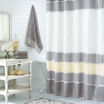 Luxe Scroll Fabric Shower Curtain