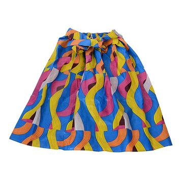 African Dutch Ankara Print Full Circle Skirt for Women Casual Maxi Flared Pleated Floral Dashiki Multi Plus Size A Line High Waist Ball Gown (S-XL)