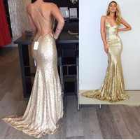 Real Pictures Gold/Red/Black Mermaid Sequins Prom Dresses 2017 Sparkle Sexy Backless Straps Long Formal Evening Gowns Customed