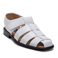 Men's 33216 Leather Lined Caged Closed Toe Slip On Dress Sandals