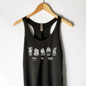 Plants Are Friends Tank Top Shirt in Black
