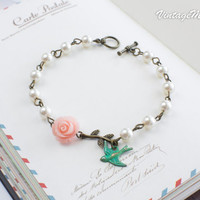 Flower Girl Gift Pearl Bracelet Bridesmaids Gifts Childrens Gift Personilized Jewelry - Wedding Accessories