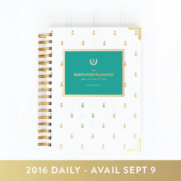 2016 DAILY Simplified Planner - Gold Pineapple