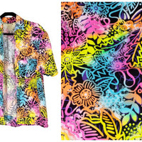 90s Neon Hawaiian Shirt Vintage Short Sleeve Colorful Open Front Top Bright Tribal Floral Print 80s Surfer Raver Zach Morris Fresh Prince