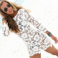 Sexy Women's Summer Bikini Swimsuit Cover Up Lace Hollow Crochet White - Smoky Mountain Boutique