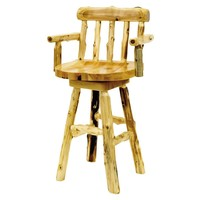 Cedar Log Counter Stool with Back and Arms