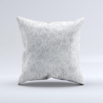 White Textured Lace Ink-Fuzed Decorative Throw Pillow