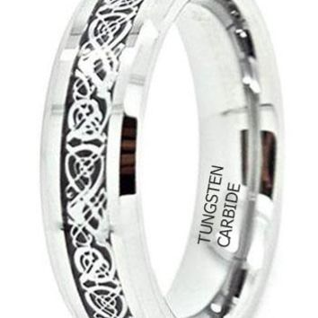 CERTIFIED 6mm Tungsten Carbide with Silver-Colored Celtic Dragon Inlay Wedding Band