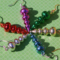 Choice of Ornament Earrings Metallic Christmas Dangles in Green Red Pink Silver Gold or Blue