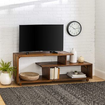 """Walker Edison Rustic Asymmetrical Wood Universal TV Stand for TV's up to 65""""Flat Screen Cabinet Door and Open Shelves Living Room Storage Entertainment Center Amber Brown60 Inch Amber Brown"""
