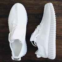 """Adidas"" Women Yeezy Boost Sneakers Running Sports Shoes White"