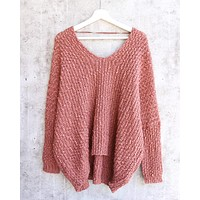 popcorn yarn textured v-neck knit sweater pullover - brick