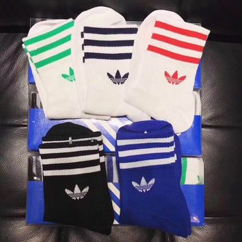 Adidas ladies fashion printed socks a box of five pairs of high quality and low price