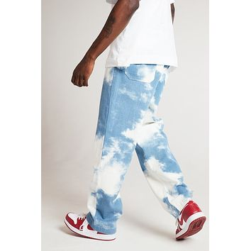 Men's Loose-fitting White Water Wash Straight Jeans Trousers