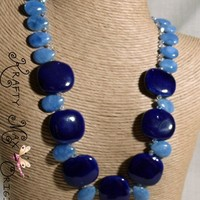 Denim Jade and Deep Blue Ceramic Beads Necklace and Earrings Set | KraftyMax - Jewelry on ArtFire