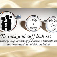 Groom cuff links and tie tac - bridal party - wedding cufflinks - keepsake - gift