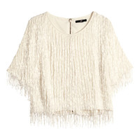 Blouse with Beaded Fringe - from H&M