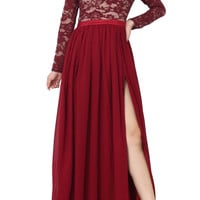COHE Long Sleeve Lace Maxi Dress with open slit and cutout Maroon Red